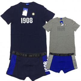Completo Intimo Adulto Inter, Maglietta a e boxer Fc Internazionale PS 22568