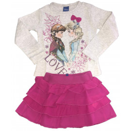 Completo Disney Frozen Bimba T-Shirt Manica Lunga Gonna PS 09302 Pelusciamo Store Marchirolo