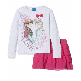 Completo Bimba Disney Frozen T-Shirt Manica Lunga Gonna PS 09231