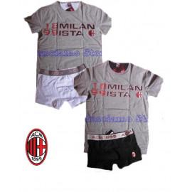 Completo Intimo Maglietta e Boxer Adulto Ac Milan Abbigliamento tifosi *03694