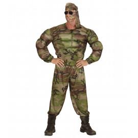Costume Carnevale Uomo Divisa Militare Muscoli  | Pelusciamo.com