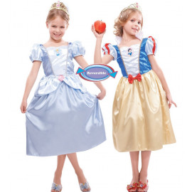 Costume Carnevale Bimba Principessa Disney Biancaneve - Cenerentola Reversibile | pelusciamo.com