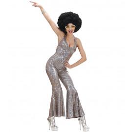 Costume Carnevale Donna Anni 70 Tuta Olografica Travestimento Disco Fever *11346