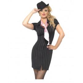 Costume Carnevale Donna Gangster lady anni 20 Gessato smiffys 30457 *10449