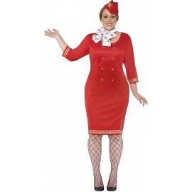 Costume Carnevale Donna Hostess Rosso PS 08124 Travestimento Taglie Forti Pelusciamo Store Marchirolo