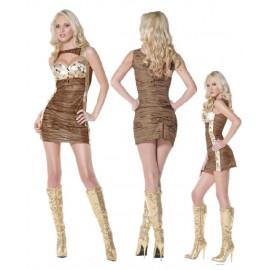 Costume carnevale Miniabito Sexy Marrone e Oro smiffys