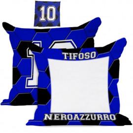 Cuscino Tifoso NeroAzzurro 40x40 cm Personalizzabile Foto o Frasi PS 10595 Gadget Personalizzato