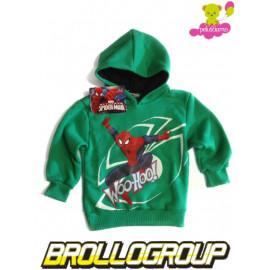 Felpa Bimbo con Cappuccio Spiderman verde, Marvel  *20397 Uomo Ragno