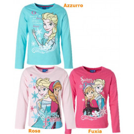 T-Shirt Bimba Disney Frozen, Maglietta Manica Lunga Anna e Elsa *19012