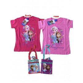 T-Shirt con Borsetta Bimba Disney Frozen, Maglietta Anna e Elsa *21069