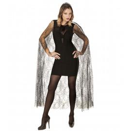 Halloween Donna Mantello Con Cappuccio A Ragnatela  140cm   Pelusciamo.com