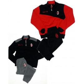 Milan Calcio Pigiama Invernale Uomo Ufficiale AC Milan PS 25386 Pelusciamo Store Marchirolo