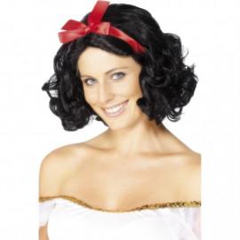 Parrucca Fata Nera Corta Ondulata Con Nastro PS 08098 Parrucche Da Donna Carnevale Pelusciamo Store Marchirolo