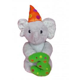 Peluche Elliot l'elefantino Con Numero 3 Verde - 25 Cm PS 07270