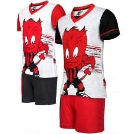 Pigiama corto bambino calcio Milan Abbigliamento ufficiale N25021 pelusciamo