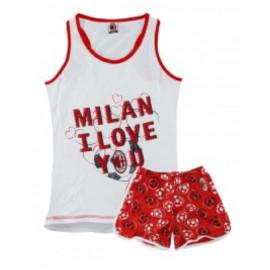 Pigiama smanicato Milan donna maglia e pantaloncini i love you  *02839 pelusciamo