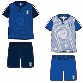 Pigiama Serafino Corto Bambino Italia Figc *17925 Abbigliamento Bimbo Estivo Ufficiale Calcio