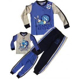 Pigiama bambini Napoli calcio da 3 a 8 anni azzurro o grigio  *03709