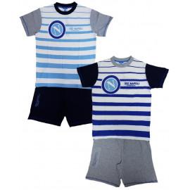 Pigiama corto ragazzo maglia e pantaloncini tifosi Napoli calcio | Pelusciamo.com