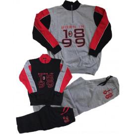 Pigiama Milan Adulto Abbigliamento Ufficiale AC Milan PS 09490 Cotone Felpato Pelusciamo Store Marchirolo