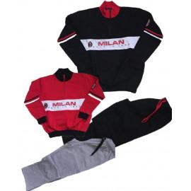 Pigiama Milan Ragazzo Abbigliamento Ufficiale AC Milan PS 09485 Cotone Felpato Pelusciamo Store Marchirolo