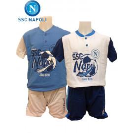 Pigiama Serafino Corto Bambino SSC Napoli *17901  Abbigliamento Bimbo Estivo Ufficiale Calcio