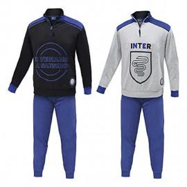 Inter Calcio Pigiama Uomo Lungo Ufficiale FC Internazionale PS 08608 Pelusciamo Store Marchirolo
