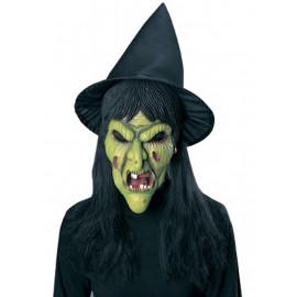 Maschera Halloween Carnevale Adulto Strega Maga Befana verde Rubies