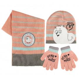 Set tre pezzi secrets life of pets salmone cappello guanti sciarpa 04486