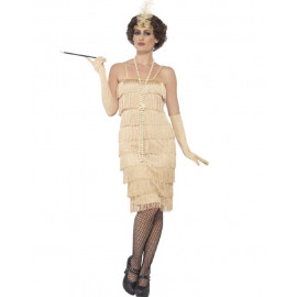 Costume Carnevale Donna Charleston Gold Flapper Gonna Lunga PS 25327