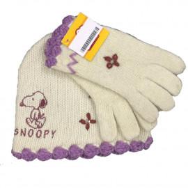 Set invernale Bambina guanti + Cappello Snoopy, Abbigliamento Bimba | pelusciamo.com