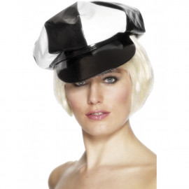 Accessorio costume Carnevale Cappello Berretto Pvc Bianco Nero | pelusciamo.com