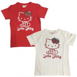 T-Shirt Bimba Hello Kitty Fragola Glitter, Maglietta maniche corte Bambina | pelusciamo.com