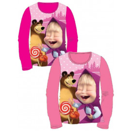 T-shirt manica lunga bambina Masha e l'orso cotone *21896 | Pelusciamo.com