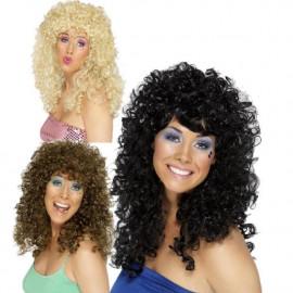 Travestimento costume carnevale Parrucca Boogie anni 80 nera marrone bionda smiffys 42064 *10219