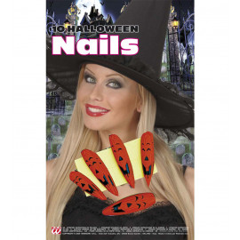 Make Up Halloween, 10 Unghie Zucca, Adesive  *03452 | pelusciamo.com