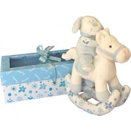 Peluche cavallino a dondolo azzurro con sonaglino prima infanzia zero tre *04102 pelusciamo store