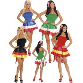 Costume Carnevale Donna Vestito Miss Nazionali Calcio PS 10005