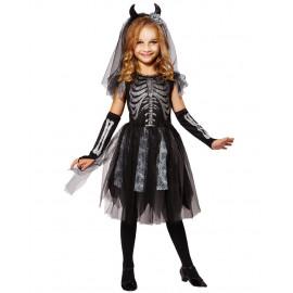 Vestito Scheletro Halloween Travestimento Bambina PS 25610 Pelusciamo Store Marchirolo