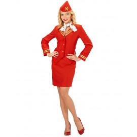 Costume Carnevale Hostess rosso travestimento donna 05316 pelusciamo store