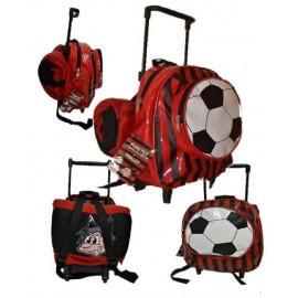 Zainetto asilo mini trolley con maniglia + plaid pile rosso nero *17202