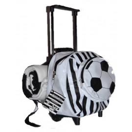 Zainetto asilo mini trolley con maniglia + plaid pile bianco nero PS 17204