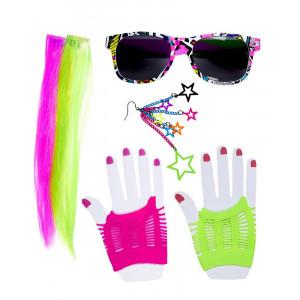 Kit Neon Fluo Accessori Per Costume Carnevale Anni 80 PS 26513 Pelusciamo Store Marchirolo