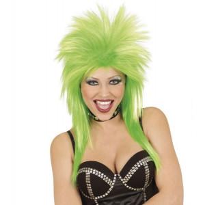 Parrucca Fluo Verde Anni 80, Costume Carnevale Fatina    Pelusciamo.com