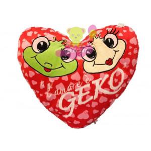 Cuscino in peluche cuore l' amore e' geko regalo san valentino