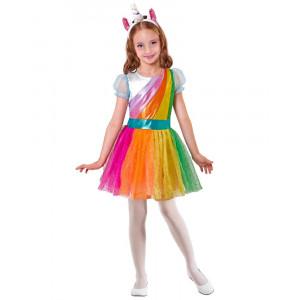 Costume Carnevale Unicorno Vestito Con Cerchietto Bimba PS 26503 Pelusciamo Store Marchirolo