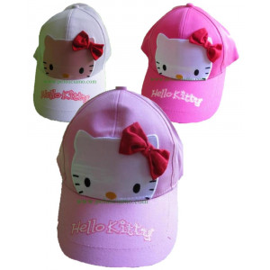 Cappellino con visiera baseball Hello Kitty fiocco face *08274