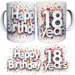 Tazza In Ceramica Happy Birthday 18 Years Tazze Regalo PS 09370-18
