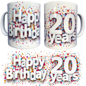 Tazza In Ceramica Happy Birthday 20 Years Tazze Regalo PS 09370-19 Pelusciamo Store Marchirolo