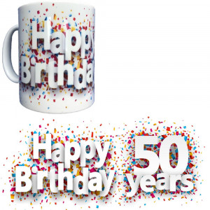 Tazza In Ceramica Happy Birthday 50 Years Tazze Regalo PS 09370-23 Pelusciamo Store Marchirolo